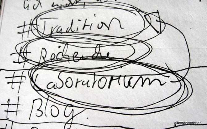 Meine Hashtags: Tradition, Recherche, Laboratorium